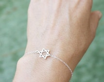 Summer Sale - star of david bracelet - tiny jewish star - sterling silver sideways star of david . star of david jewelry, jewish jewelry , m
