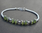 Natural Gemstone Peridot Faceted 6x3mm Rondelle Shaped Beads - 925 Sterling Bali Silver Bracelet