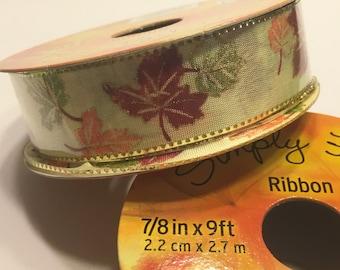 9 feet roll of fall leaf ribbon, 7 / 8 inch wide (A2)