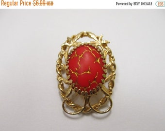 On Sale Vintage Red/Orange and Gold Tone Pin Item K # 198