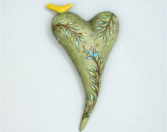 """Heart, ceramic wall art, Jacquline Hurlbert, one of a kind, unique, title: """"Safe Refuge"""""""
