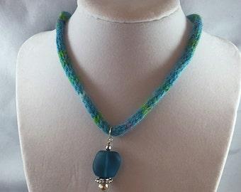 Turquoise choker, sea glass necklace, yarn jewelry, knit jewelry, bright blue, knit necklace, sea glass pendant, jewelry with yarn