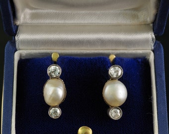 Authentic Victorian large natural Basra pearl and diamond rare solitaire earrings