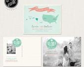Destination wedding invitation Hawaii, Save the Date Postcard with Couple Photo - Aloha - bilingual wedding invitation
