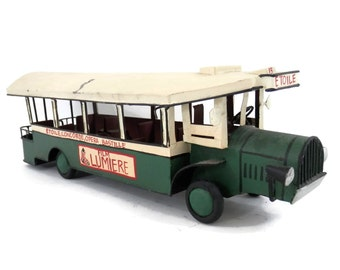 French Tram Car or City Bus Hand made and Painted Souvenir