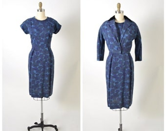Vintage 1950s 50s Day Dress and Jacket Set Women's Suit