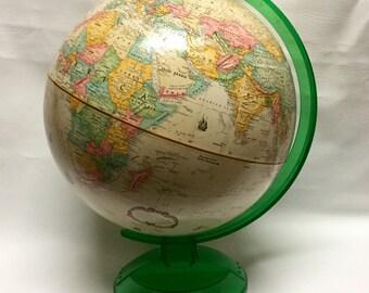 "Vintage 12"" GlobeMaster Globe with Clear Green Plastic Base New Millinnium Edition School Globe"