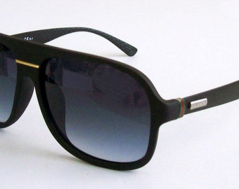 Vintage 90's GG1076 Aviator Black sunglasses for men. Great Gift for Him! Condition Mint. Case, cloth, COA.