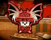 Vintage Bat Skull Live to Ride Patch