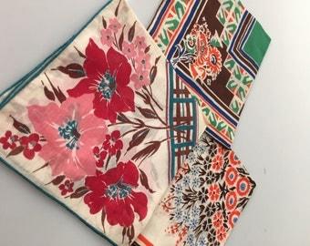 Three (3) Vintage COTTON Floral Handkerchiefs Hankies Crisp and Clean