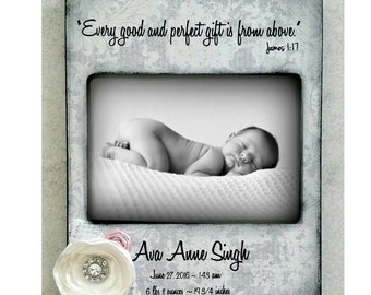 Baby Girl  Photo Frame- Personalized with Name and Birth Stats - Flowers Bible Verse James 1:17 New baby Gift Grey Pink room decor nursery