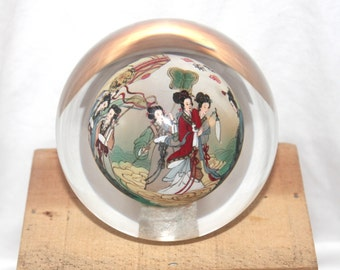 Vintage Inside Painted Glass Japanese Paperweight, Antique Alchemy