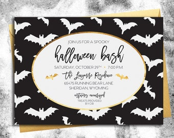 Halloween Party Invitation || Black, White, & Gold Bats