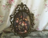 Made in Italy Vintage Floral Print - Brass Frame - Shabby Chic #2