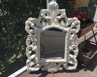 HUGE Vintage Ornate Mirror - Painted Old White, distressed, sealed - Shabby Chic - Rustic - Huge WIde Mirror 23 x 32  - Big Bold Mirror