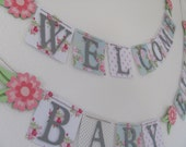 Baby Shower Banner, Baby Shower Decorations, Floral Baby Shower Banner, Baby Shower Bunting