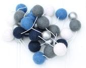 Blue and Silver Metallic Felt Ball Garland, Pom Pom Garland, Nursery Decor, Bunting Banner, Party Decor, Holiday, Create Your Own