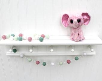 Mint Sorbet Felt Ball Garland, Pom Pom Garland, Nursery Decor, Bunting Banner, Party Decor, Holiday