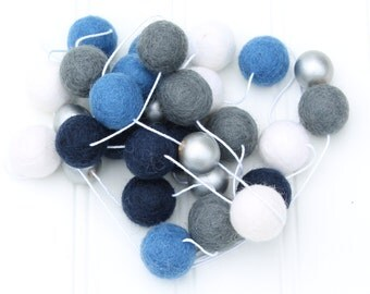 Boys Room Pom Pom Garland with Metallic Silver, Felt Ball Garland, Hannukah, Playroom Garland, Boys Room Garland, Blue White Silver