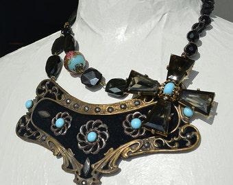 Art Nouveau French Cut Steel Brass Belt Buckle Maltese Cross Brooch Necklace