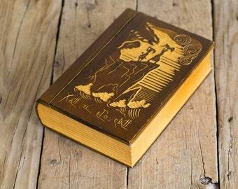 Vintage Wooden Secret Storage Book Box, Hand Carved Russian Jewelry Box, Trinket, Vintage Accessories
