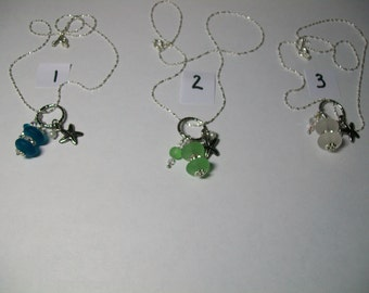 Delicate three charm sea glass circle necklace, free shipping within US