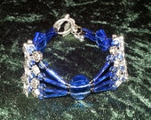 Bracelet Roses and Thorns Blue Glass and Silver