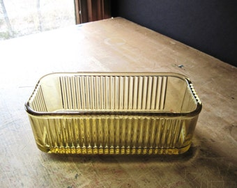 Vintage Amber Federal Glass, Ribbed Glass Dish, Refrigerator Dish, 1930's Glass, Glass Loaf Pan, Food Storage, Kitchen Storage, Food Storage