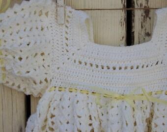 Hand crochet white baby dress size 18 month Handmade baby dress