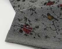 Roses and Birds Knit Fabric, Cotton Rib Knit Fabric, Stretchy Fabric - Dark Gray - 55 Inches Wide - By the Yard 87766