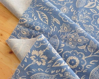 Blue Flowers Cotton Linen - By the Yard 87722