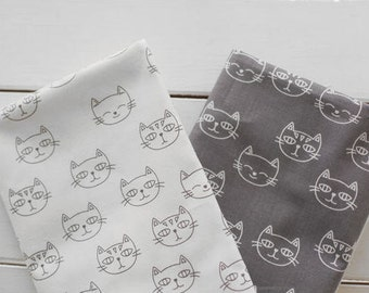 Cats Cotton Fabric Meow Meow - White or Gray - By the Yard 87259