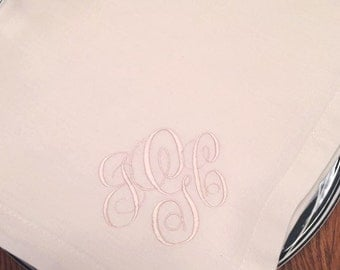 Monogrammed Dinner Napkins Embroidered on White or Ivory Cotton Napkins SET 4