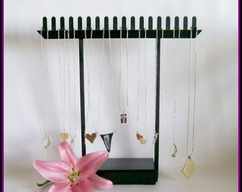 Wood Short Chain Necklace Display - T Bar Replacement - Black