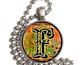 """Letter """"F"""" Art Pendant, Alphabet Resin Pendant, Vintage Initial  Photo, Silver Nickel Coin Charm Necklace"""