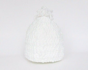 Newborn To 3 Month Old  White Hat Baby Girl Winter Cap Infant Boy Beanie  Soft Fleece Like Yarn Fall Accessory Ready To Ship