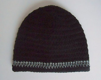 Preteen Boy Black Hat Teen Girl Cap Winter Beanie  Adult Fall  Skullcap With Grey Stripe Ready To Ship