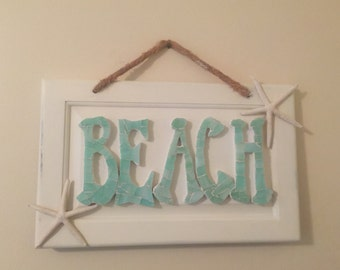 MOSAIC BEACH SIGN- Beach Cottage Sign - Star Fish - Stained Glass Beach Sign   ** Free Shipping in the U S A**