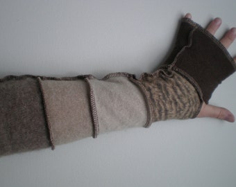 Cashmere arm warmers, fingerless gloves, mitts, 16 inch, beige and brown animal print