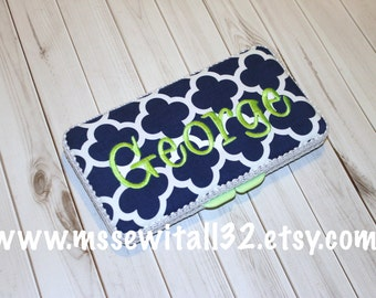 Custom Navy Quatrefoil Diaper Wipes Case