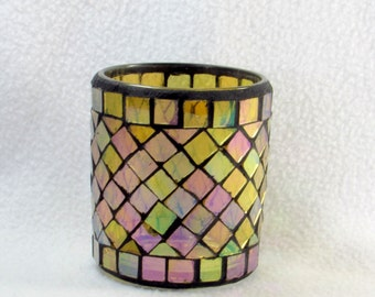 Golden Mosaic Stained Glass Candle Holder
