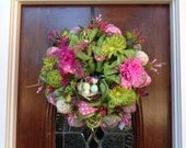 Bright Colored Burlap and Mesh Spring/Summer Wreath