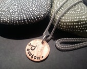 Passion hand stamped lucky penny necklace on stainless steel chain by D2E Gallery