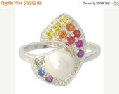 Valentines Day Sale Multicolor Rainbow Sapphire & Pearl Majestic Queens Ring 925 Sterling Silver (1/2ct tw) SKU: 1467-925