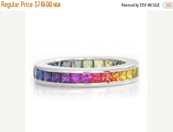 Valentines Day Sale Multicolor Rainbow Sapphire Eternity Band Ring 14k White Gold (3ct tw) : sku R2045-14K-WG