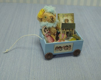 Gaël Miniature Vintage Games box full of toys teddy bear Dollhouse Miniature child game Accessory toy, Handmade