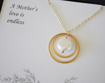2 Mother Gift Karma Necklace, Mother Necklace, Thank You Card, White Pearl, Gold Necklace, Karma, Mother in Law Gift, Infinity Necklace