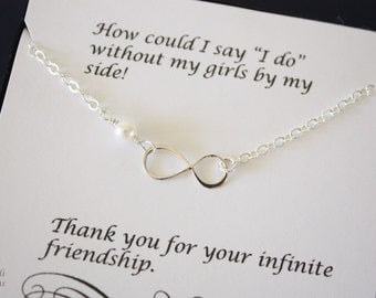 10 Silver Infinity Bridesmaid Necklaces, Infinity Jewelry, Best friend Gift, Thank You Card, Bridesmaid Gift, Sterling Silver Necklace