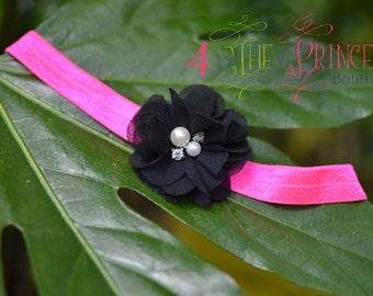 pink and black headband, black rhinestone flower headband, hot pink FOE headband