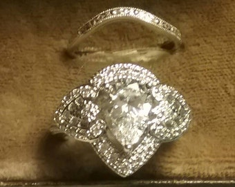 Vintage Antique Style Filigree Pear Cut Engagement Ring, Antique Engagement Ring Set